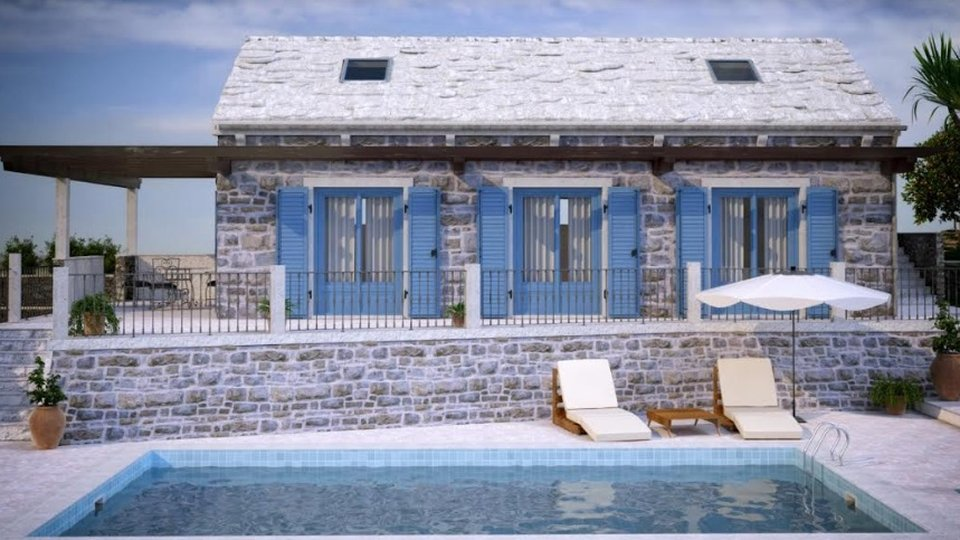 Villa with a swimming pool at the initial stage of construction in Sutivan, only 250 meters from the beach!