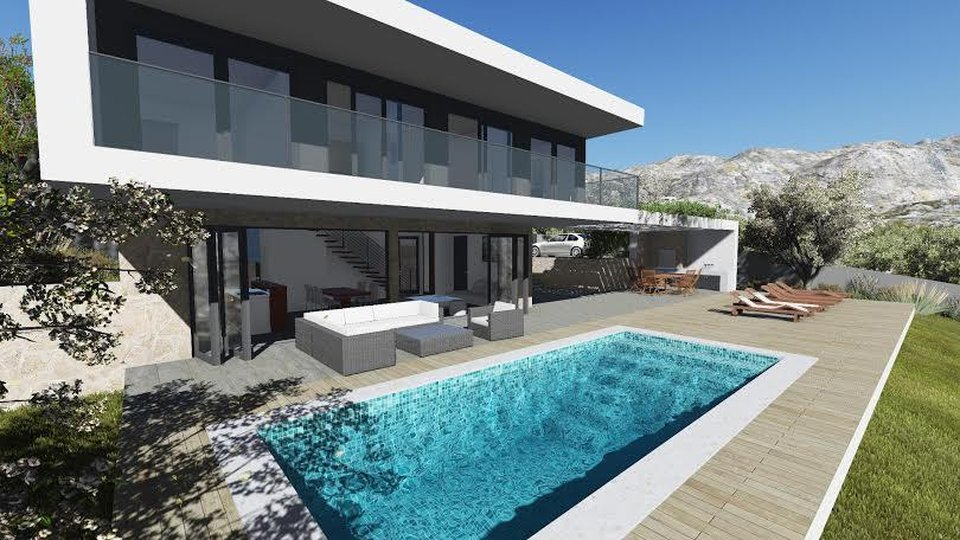 Beautiful villa in the style of hi-tech in Seget, near Trogir!