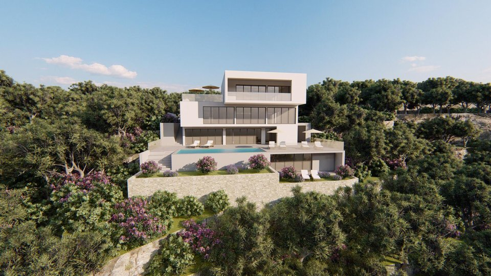 CONSTRUCTION LAND IN FIRST ROW  WITH THE PROJECT OF MODERN VILLA IN UNIQUE LOCATION, OMIŠ